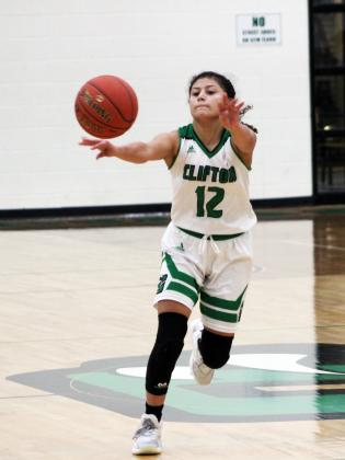 Forrest Murphy/Clifton Record/Clifton freshman point guard Laylah Gaona (12) finished with a team-high 21 points versus the West Lady Trojans Wednesday night.