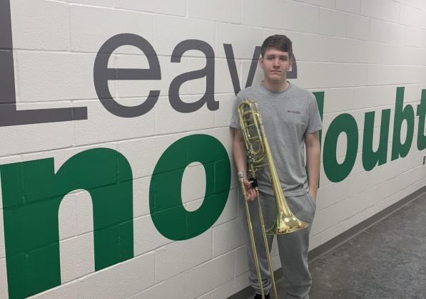 Clifton High School junior bass trombone player Gavin Poole recently took home individual all-state band honors. Courtesy Photo/Matt Nelson
